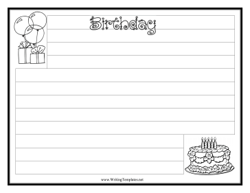 Birthday Writing Template Writing Template