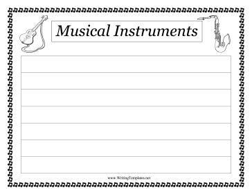 Musical Instrument Writing Template Writing Template