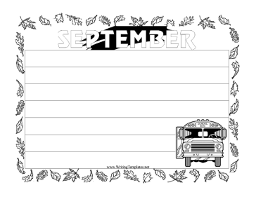 September Writing Template Writing Template